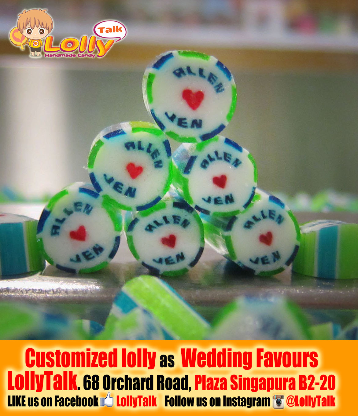 Customized Candy with Couple's names as Wedding Favors